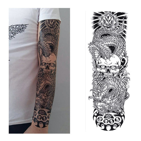 Skull & Dragon Temporary Tattoo