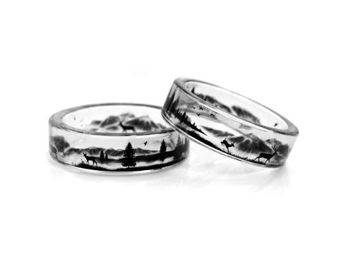 Beautiful Graveyard Scenery Resin Transparent Ring