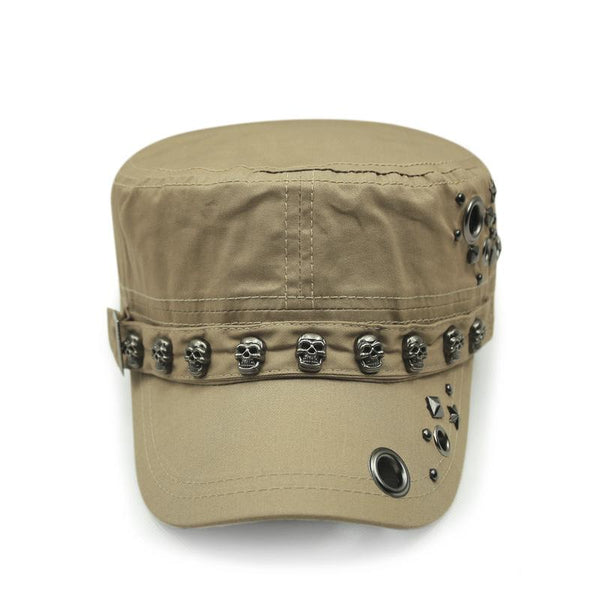 Skull Rivet Embellished Military Hat
