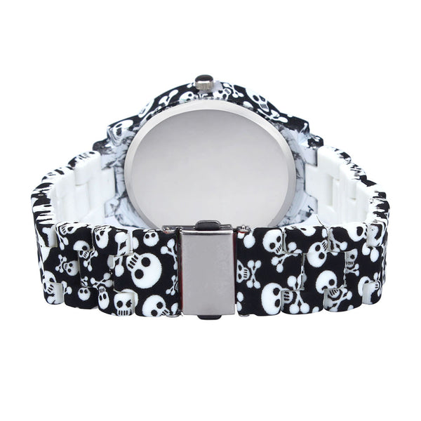 Skull Prints Ceramics Style Wristwatch
