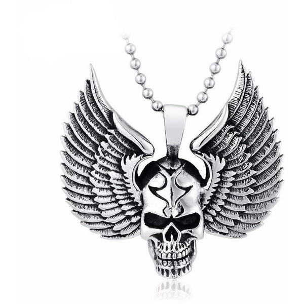 Stainless Steel Flying Skull Pendant Necklace