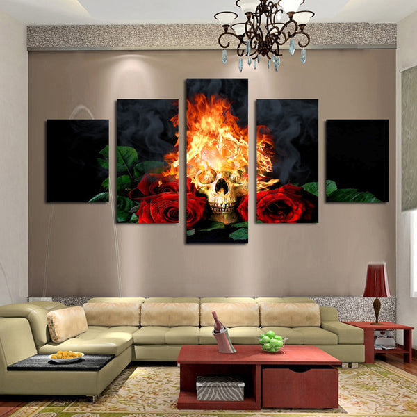 Fire skull & Red Roses Wall Canvas Painting