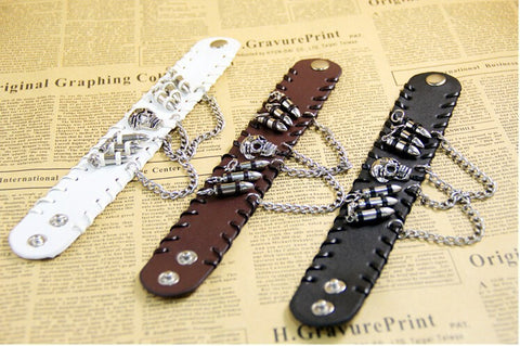 Skull & Bullets Leather Bracelet Special - Christenza - 07