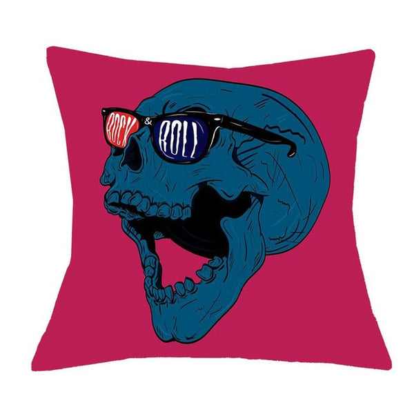 3D Sugar Skull Color Cushion Cover