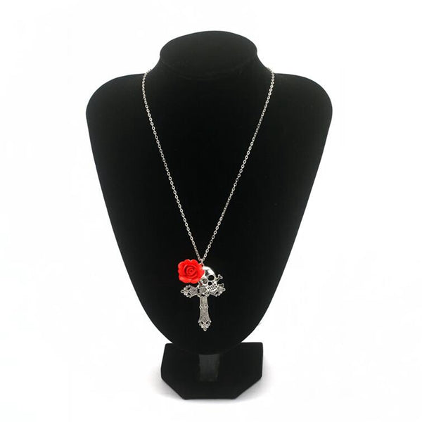 Cross Gothic Red Rose Skull Necklace