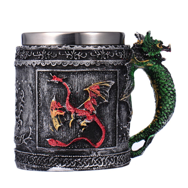3D Celtic Double Wall Stainless Steel Dragon Mug
