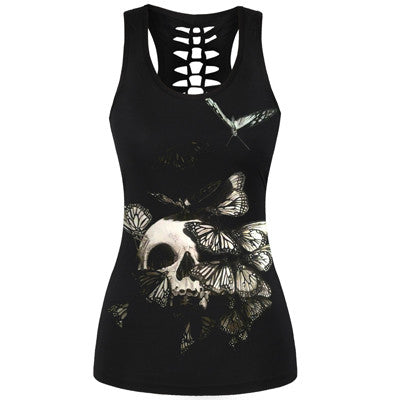 Hollow Out Back Butterfly Skull 3D Print Tank Top