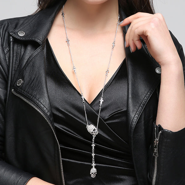 Gothic Skull Cross Crystal Long Necklace