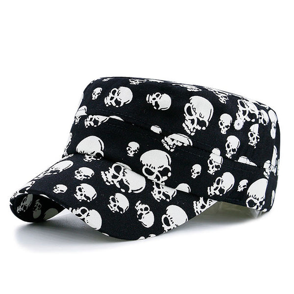 Skull Printed Flat Top Military Hat