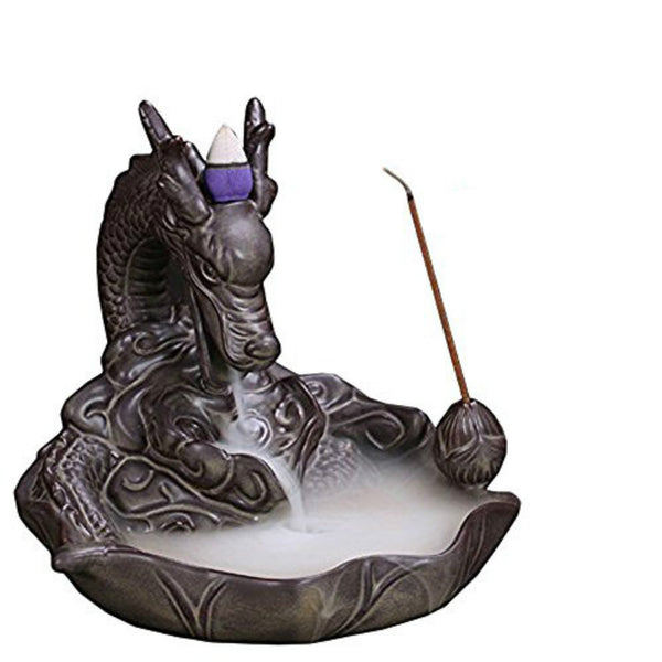 Ceramic Dragon Backflow Incense Burner + 50 Incense Cones (NOT 10)