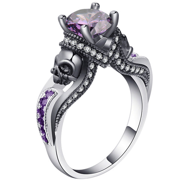 EVIL GHOST BIRTHDAY STONE SKULL RING