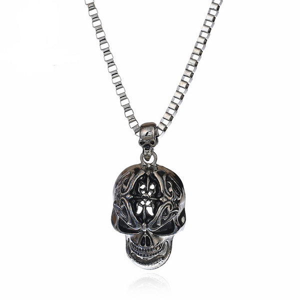 Eyecatchy Silver Black Gothic Skull Necklace