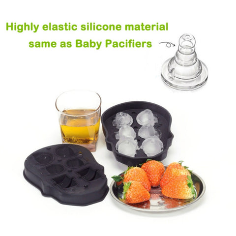 Exquisite 3D Silicone 6 IceCube/Chocolate Skull Mold