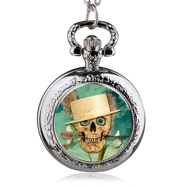 Skull Pattern  Quartz Pocket Watch