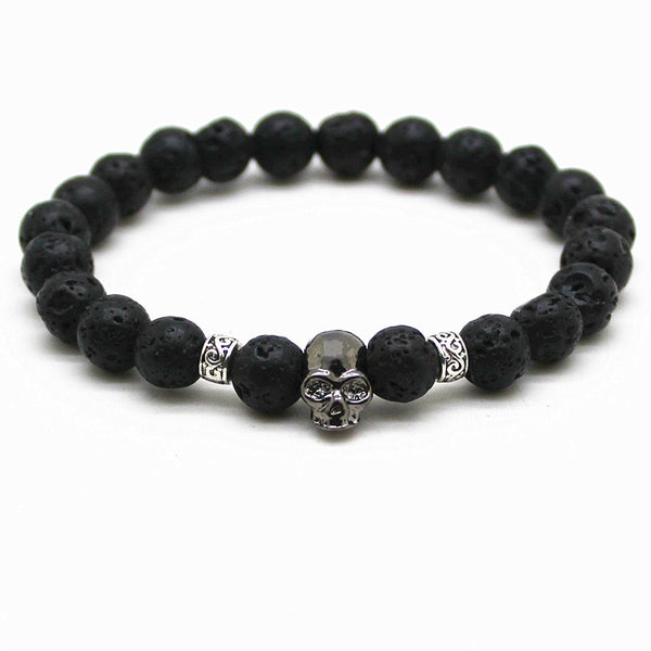Handmade Black Natural Lava Rock Beads Skull Essential Oils Diffuser Bracelet