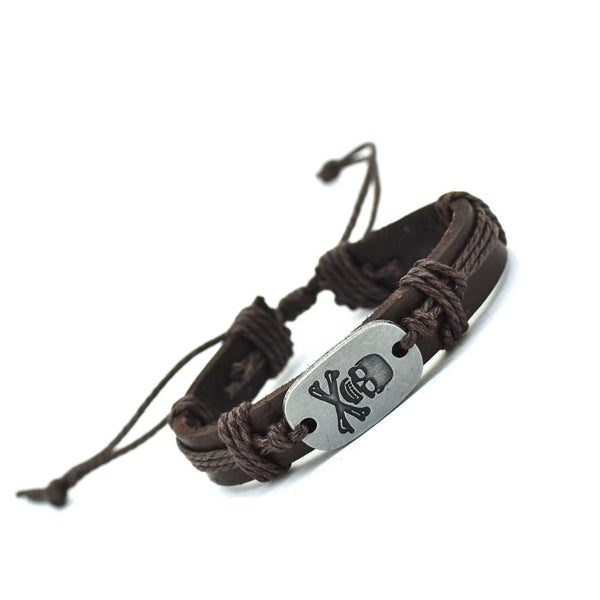Handmade Skull & Bone Leather Strap & Rope Bracelet