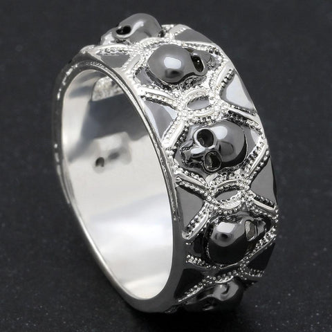 Retro Black Evil Skull Ring