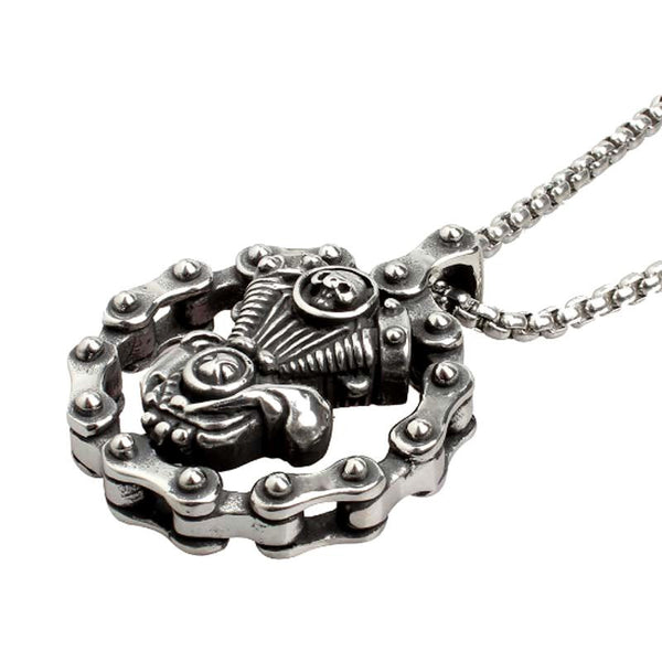 """SKULL ENGINE"" CHAIN PENDANT NECKLACE"