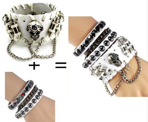 SPIKES SKULL LEATHER BRACELET