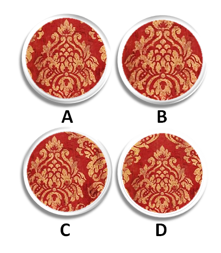 red and gold damask drawer pulls