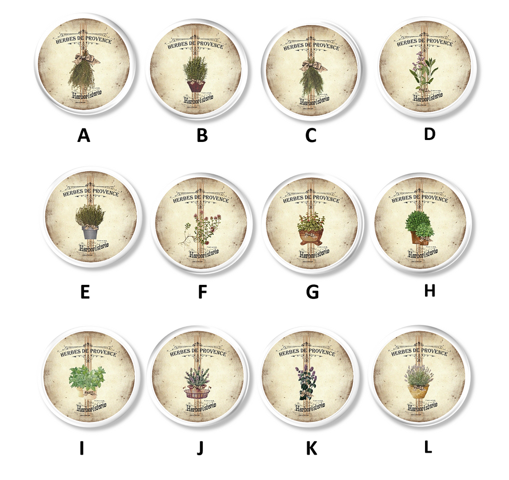 Drawer pulls featuring various Country French Herbs De Provence with an antiqued style