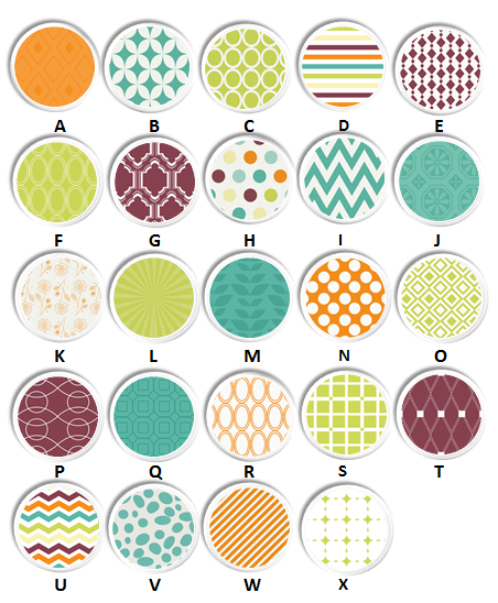 Coordinated color knob collection orange, teal, plum, green