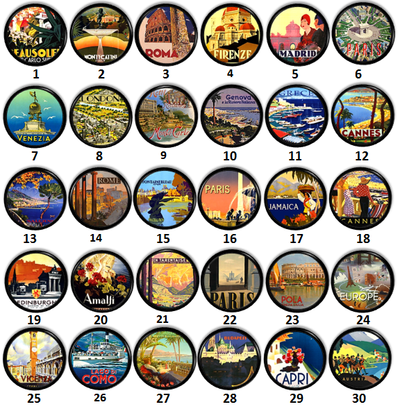 World Countries Collectable Cabinet Knobs - Rome, Paris, Greece, London, Jamaica
