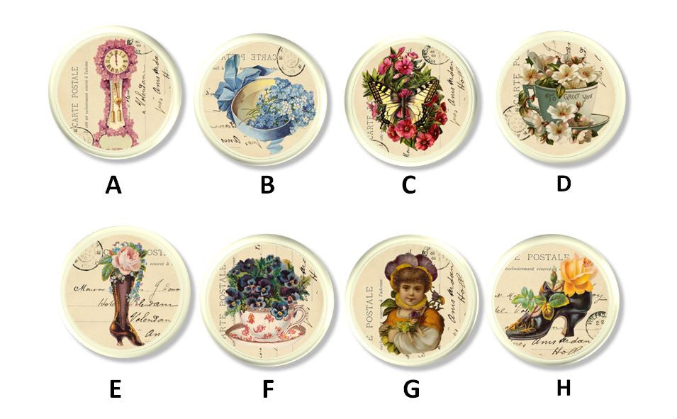 vintage paris ephemera drawer pulls