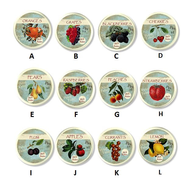 Country Fruit Market Label Kitchen Knobs | Pulls - No. 915E32 white