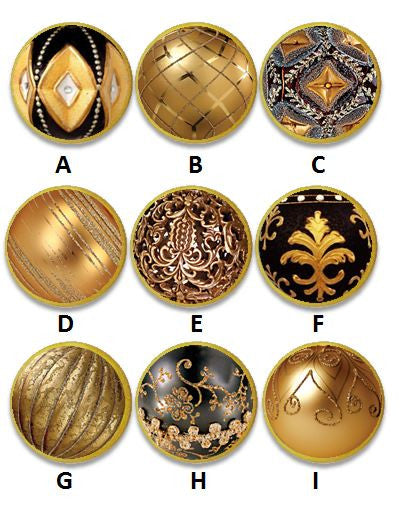 Black and Gold Globe Christmas Ornament Knobs | Pulls - No. 815Q40