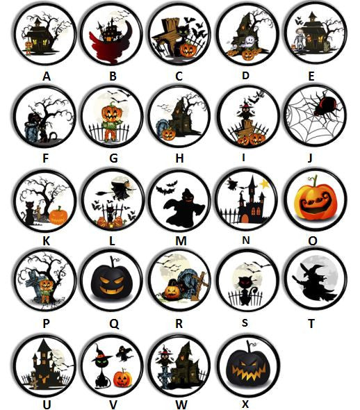 Spooky Black and Orange Halloween Knobs | Pulls - No. 816L25 - Handcrafted 360