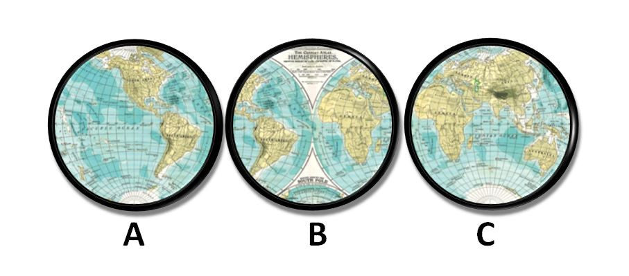 World Map Globe Hemisphere Knobs | Pulls - No. 215A16
