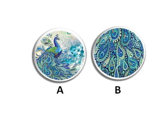 Teal Blue Paisley Peacock Knobs | Pulls - No. 315C9