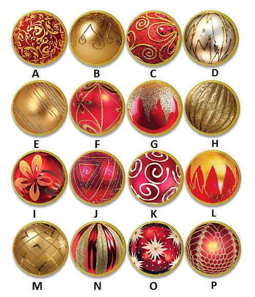 Red and Gold Christmas Globe Ornament Knobs | Pulls - No. 815Q21