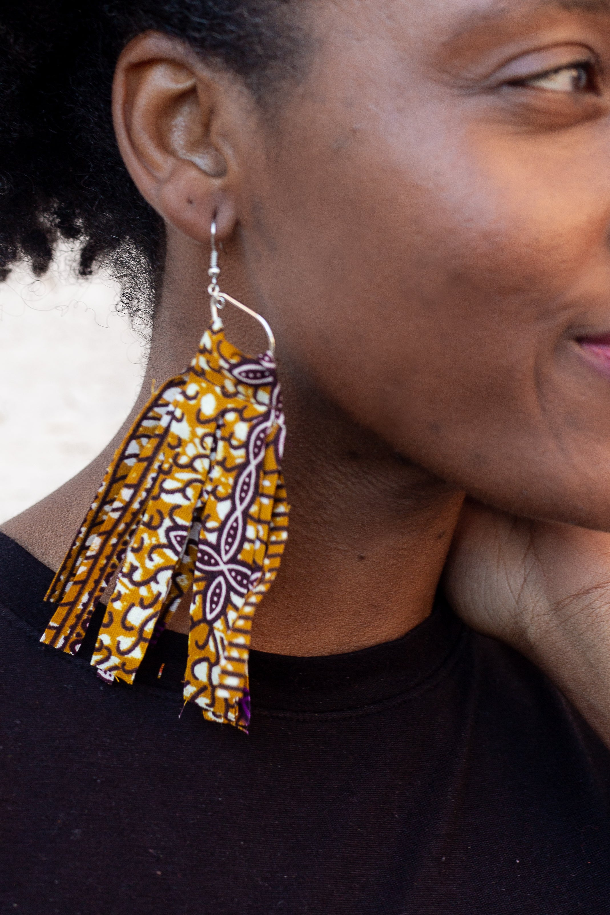 Purple and Gold Moderately Medium Earrings
