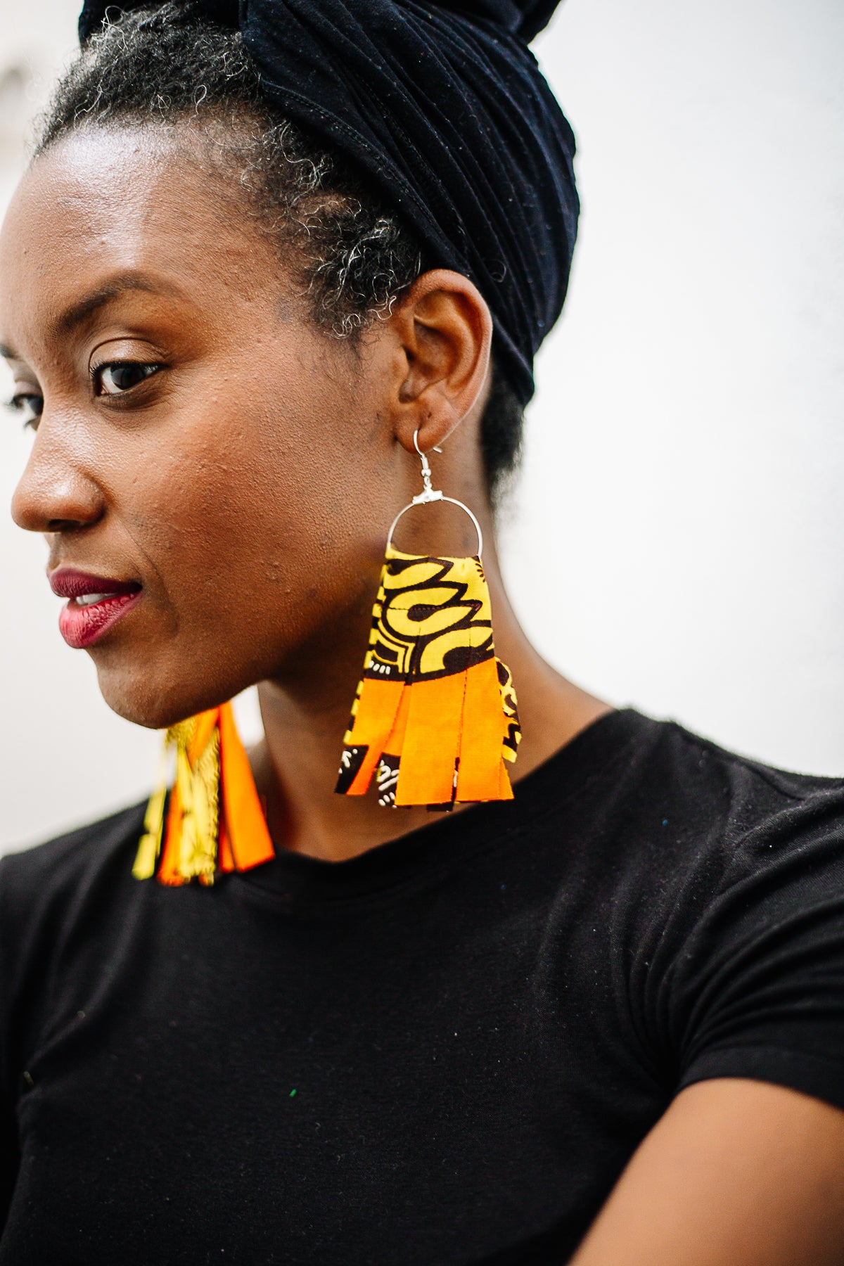Orange and Yellow Fringe Earrings