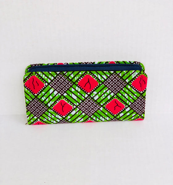Wallet - Compartments Pink/Green - Africa On My Back Backpack