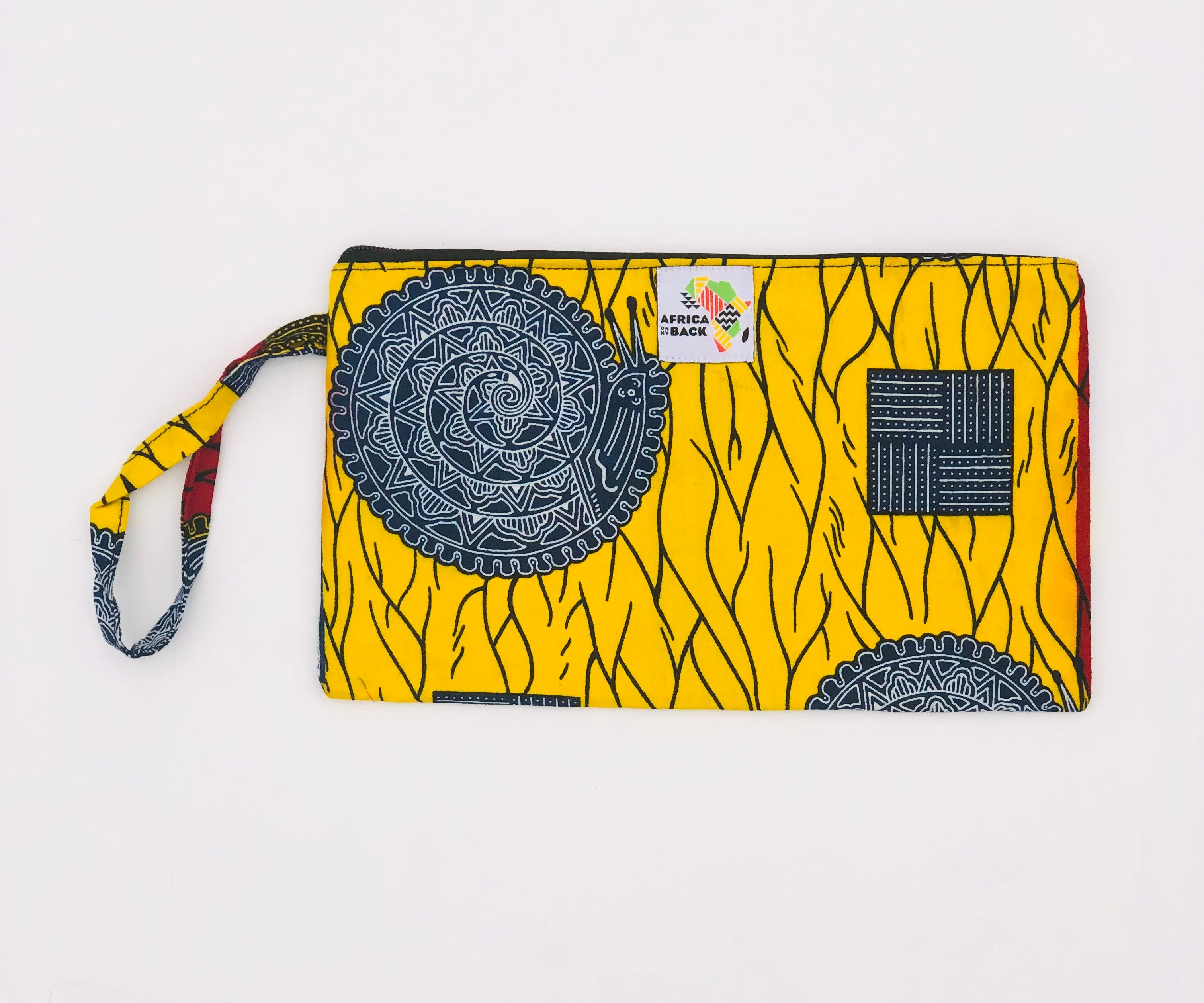 Yellow Blue Circle Clutch Wristlet