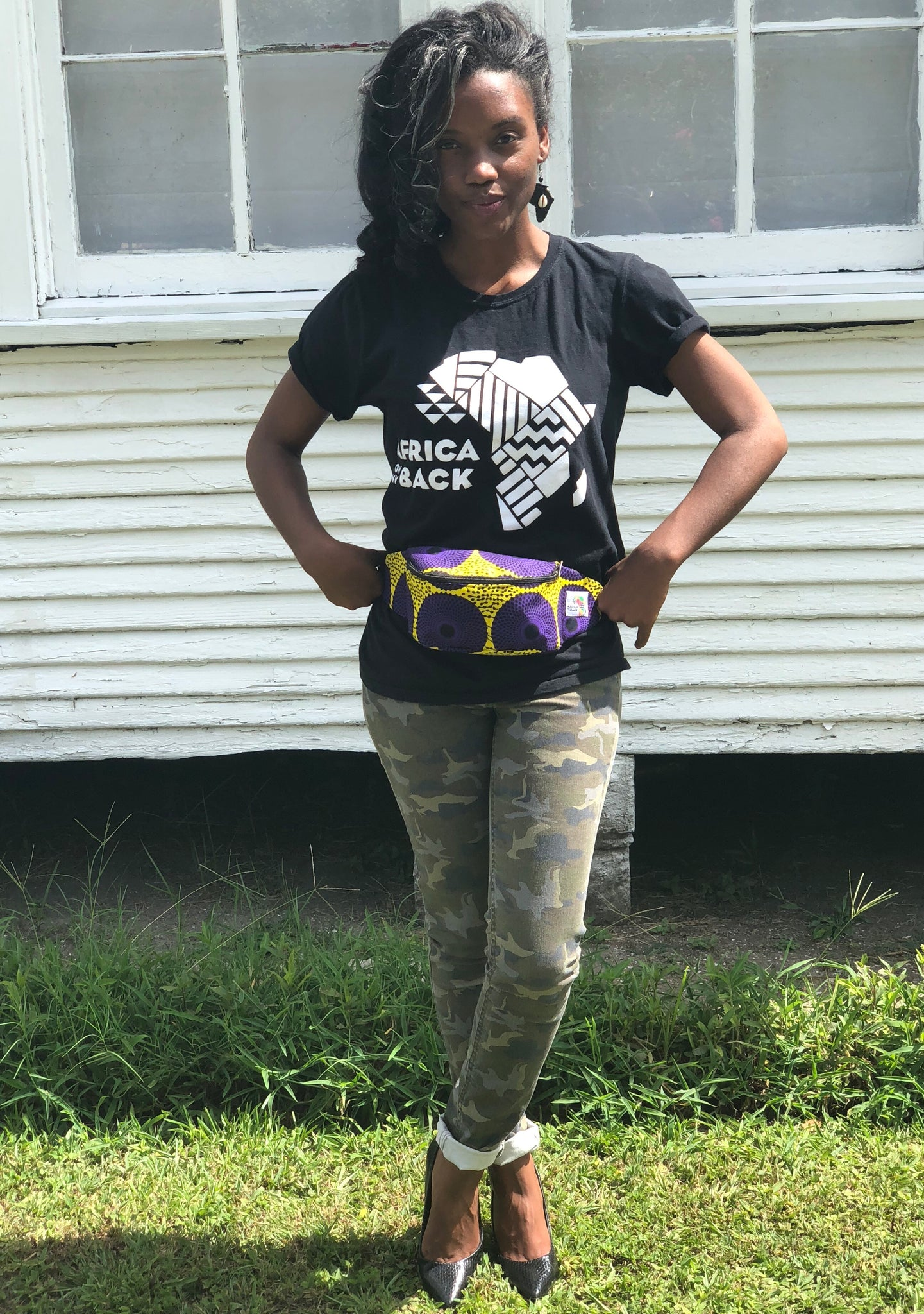 Purple Circles Fanny Pack - Africa On My Back Backpack