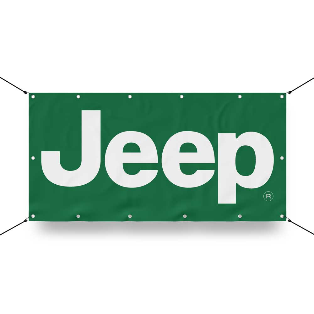 Jeep banner Our banners are digitally printed on heavy-duty indoor/outdoor vinyl with premium grommets and welded edges.  Perfect for garage/barn walls, hanging from the rafters, man cave, inside of trailers, the possibilities are endless.