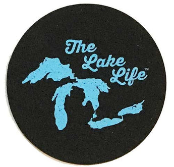 The Lake Life Michigan Great Lakes Coasters coaster set Made from recycled tires and indestructable Coasters Detroit Shirt tshirt t-shirt apparel and housewares Company