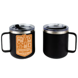 Mug - Michigan Lighthouse Wood Decal Powder Coated Camper - Black