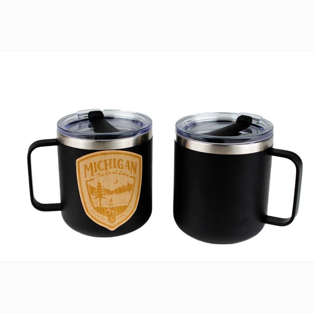 Mug - Michigan Shield Wood Decal Powder Coated Camper - Black