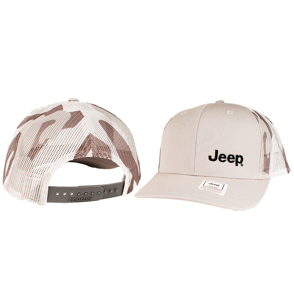 Hat - Jeep Richardson Heather Grey and Camo Trucker
