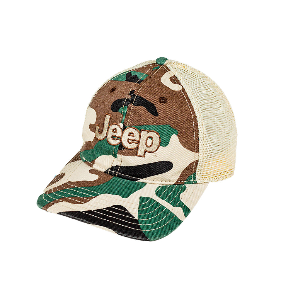 Hat - Jeep Garment Washed Trucker - Camo