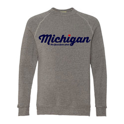 Michigan Thirsty Script Heart Triblend Crew Sweatshirt