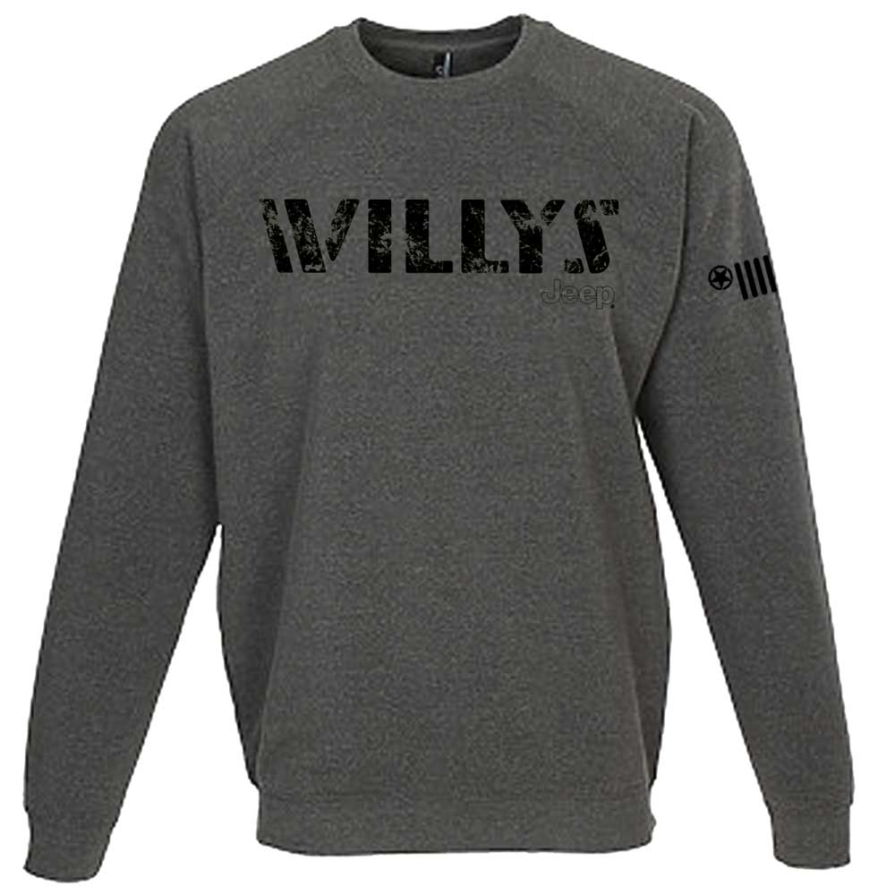 Mens Jeep® Willys Crew Sweatshirt - Heather Grey