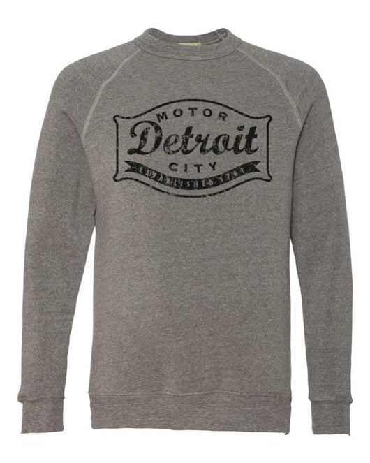 Fleece sewatshirt crewneck pullover Detroit Buckle Blackout Triblend Crew Mens Unisex Detroit Shirt Company Detroit Shirt tshirt t-shirt and accessories Company