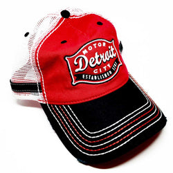 Hat - Red and Black Buckle Trucker-Hats-Detroit Shirt Company