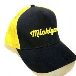 Hat - Michigan Script Classic Trucker-Hats-Detroit Shirt Company